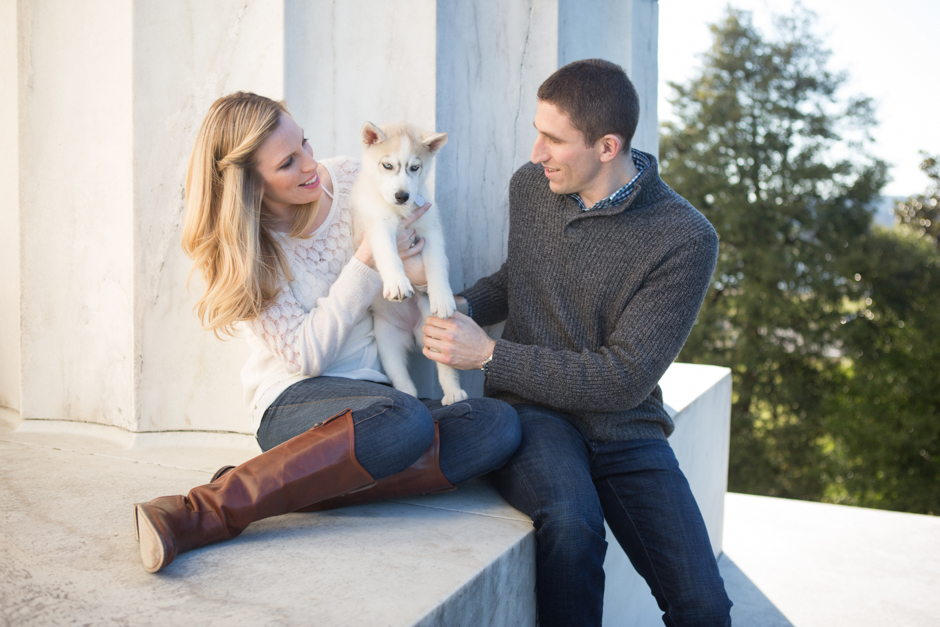 Washington DC Lincoln Memorial engagement photos with husky puppy by Maryland wedding photographer Christa Rae Photography