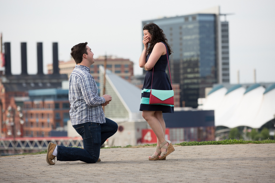 Federal Hill proposal and engagement photos in Baltimore by Maryland wedding photographer Christa Rae Photography