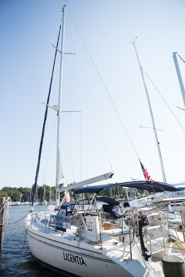 Sailboat proposal on the Chesapeake Bay in Annapolis Maryland by wedding photographer Christa Rae Photography